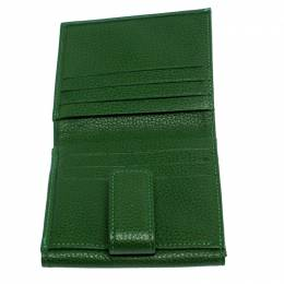 Longchamp Green Leather Flap Compact Wallet 256965