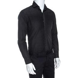 Ralph Lauren Charcoal Grey Cotton Faded Effect Long Sleeve Shirt S 255861