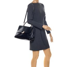 Roberto Cavalli Black Leather Flap Top Handle Bag 256920