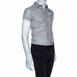 Dior Stone Grey Cotton Short Sleeve Button Front Shirt XS 256368