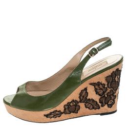 Valentino Green Leather Lace Embellished Wedge Peep Toe Sandals Size 40 255697