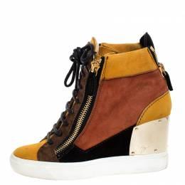 Giuseppe Zanotti Design Multicolor Suede Hidden Wedge Sneakers Size 36 257180