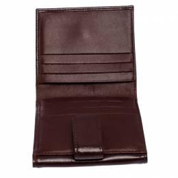 Longchamp Maroon Leather Roseau Compact Wallet 256975