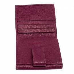Longchamp Magenta Leather Flap Compact Wallet 256971