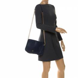 Carolina Herrera Navy Blue Leather Shoulder Bag Ch Carolina Herrera 254184