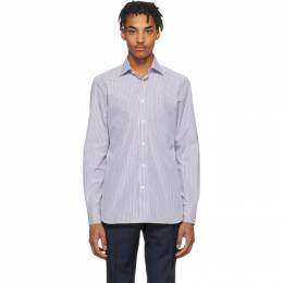 Ermenegildo Zegna Blue and White Camicia Trofeo Shirt 701055 9MS0JI