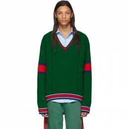 Gucci Green Cable Knit V-Neck Sweater 599310 XKA32