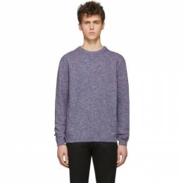 Paul Smith Blue and Burgundy Cotton Linen Marled Sweater M1R-791T-A00957