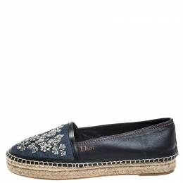 Dior Black Leather And Blue Denim Embroidered Espadrilles Loafers Size 39 257722