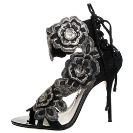 Sophia Webster Black Suede And Lace Winona Embroidered Ankle Cuff Sandals Size 38 257867
