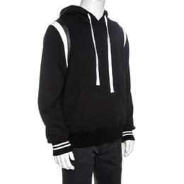 Amiri Black Knit Leather Trimmed Varsity Hooded Sweatshirt M 257536