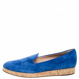 Gianvito Rossi Blue Suede Cork Platform Flat Loafers Size 39 257679