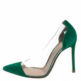 Gianvito Rossi Green Suede and PVC Plexi Pointed Toe Pumps Size 38.5 257043