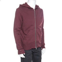 Amiri Burgundy Knit Distressed Zip Front Shotgun Hoodie S 257566