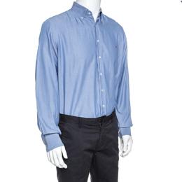 Carolina Herrera Blue Cotton Long Sleeve Shirt M 256964
