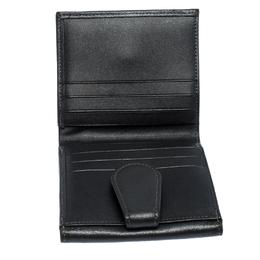 Longchamp Metallic Grey Leather Flap Button Compact Wallet 256966