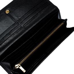 Carolina Herrera Black Lasercut Leather Flap Continental Wallet 257185
