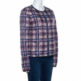 Chanel Multicolor Checked Tweed Print Technical Fabric Reversible Jacket M 256970