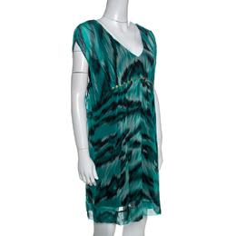 Diane Von Furstenberg Green Printed Silk Embellished Simea Dress M 257724