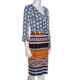 Diane Von Furstenberg Multicolor Printed New Julian Two Desert Band Wrap Dress M 257865