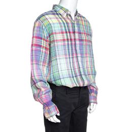 Ralph Lauren Multicolor Checked Ocean Wash Linen Slim Fit Shirt XXL 257893
