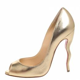 Christian Louboutin Gold Leather Jolly Peep Toe Pumps Size 38 258030