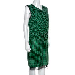 Diane Von Furstenberg Bicolor Patterned And Draped Leala Tweed Dress M 257671