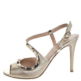 Valentino Gold Leather Rockstud Cross Strap Sandals Size 37 258092