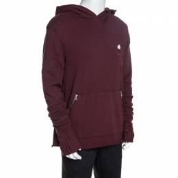 Amiri Burgundy Knit Distressed Shotgun Hooded Sweatshirt M 257935