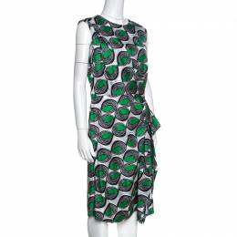 Diane Von Furstenberg Green Printed Silk Ruffled Talba Dress L 257680