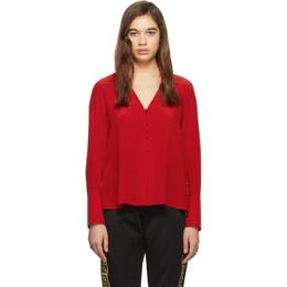 Fendi Red Silk Deep V-Neck Blouse FS7246 O2R