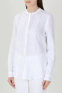 Белая рубашка с вышивкой ришелье Loro Piana 672178626
