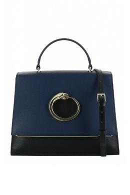 Черная кожаная сумка с синим клапаном Roberto Cavalli Class 2792178224
