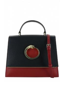 Красная кожаная сумка с черным клапаном Roberto Cavalli Class 2792178222