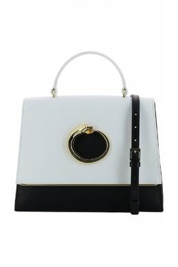Черно-белая кожаная сумка Roberto Cavalli Class 2792178221