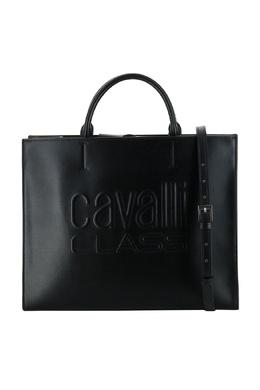 Черная кожаная сумка-шоппер Roberto Cavalli Class 2792178206