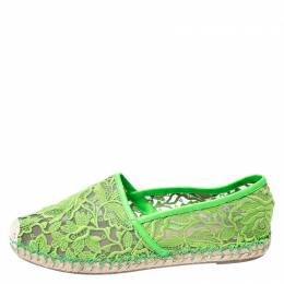 Valentino Green Lace, Leather Trim And Mesh Espadrille Flats Size 38