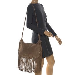 MICHAEL Michael Kors Light Brown Suede Dakota Fringe Shoulder Bag 257444
