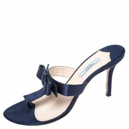 Prada Blue Satin Fuoco Bow Thong Sandals Size 39 258044