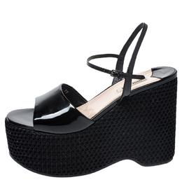 Miu Miu Black Leather Mesh Wedge Paltform Ankle Strap Sandals Size 38 258071