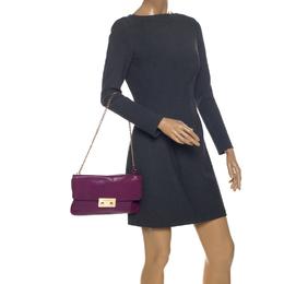 Michael Kors Purple Leather Flap Shoulder Bag 257210