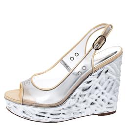 Chanel PVC Metallic Silver Textured Wedge Heel Peep Toe Slingback Sandals Size 38