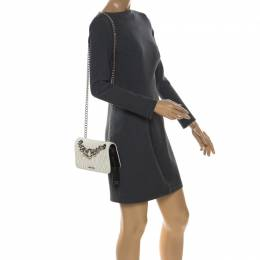 Miu Miu Black/White Matelasse Leather Small Club Shoulder Bag 257513