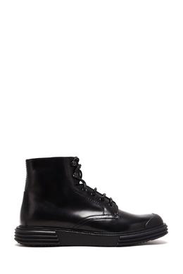 Кожаные ботинки на плоской подошве Prada 40179456
