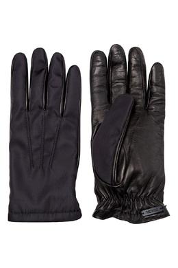 Черные перчатки с кожаными вставками Prada 40179657