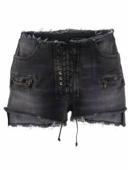 Unravel Project джинсовые шорты с бахромой и шнуровкой UWYC002R20DEN0021000