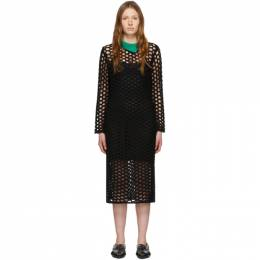 3.1 Phillip Lim Black Wool Open Knit Polo Maxi Dress E202-7257OKM