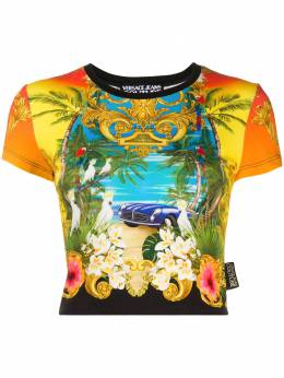 Versace Jeans Couture укороченная футболка с графичным принтом B2HVA725S0681