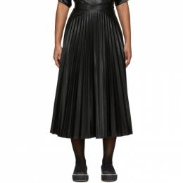 Mm6 Maison Margiela Black Coated Pleated Skirt S52MA0095 S23583