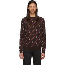 Fendi Brown Wool Stripe Karligraphy Sweater FZY033 AAUF